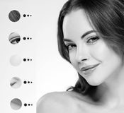 Portrait woman with problem and clear skin, youth  make up concept black and white Stock Photos