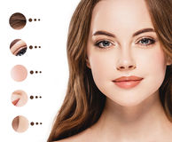 Portrait woman with problem and clear skin, youth  make up concept Royalty Free Stock Images