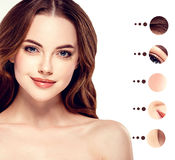 Portrait woman with problem and clear skin, youth  make up concept Stock Photos