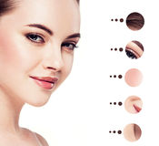 Portrait woman with problem and clear skin, youth  make up concept Royalty Free Stock Photos