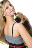 Portrait of woman and puppy Stock Photo