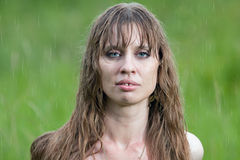 Portrait of the woman in the rain Royalty Free Stock Image