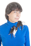 Portrait of the woman with rats Royalty Free Stock Photo