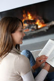 Portrait of woman reading book Royalty Free Stock Images
