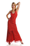 Portrait of Woman in Red Gown Stock Image