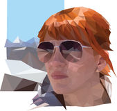 Portrait of the woman with red hair and glasses on the mountain landscape Stock Image