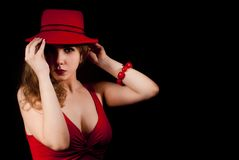 Portrait of woman with a red hat Royalty Free Stock Photo