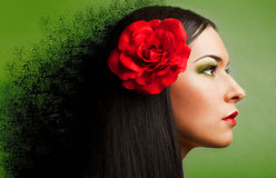 Portrait of  woman with red rose Stock Photo