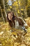 Portrait Of Woman Relaxing In Forest Royalty Free Stock Photos