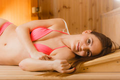 Portrait of woman relaxing in sauna. Spa wellbeing Royalty Free Stock Images