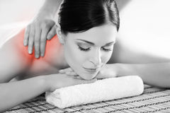 Portrait of a woman relaxing on a spa massage. Healthy beautiful woman in a spa. Recreation energy health massage healing concept royalty free stock photo