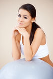 Portrait of woman  she resting after fitness Stock Image