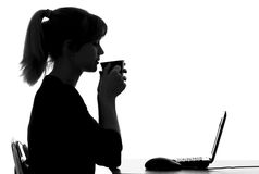 Portrait of a woman resting from work at the computer Royalty Free Stock Image