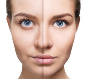 Portrait of woman before and after retouch. Royalty Free Stock Photo