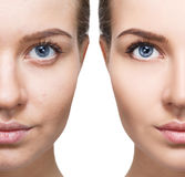 Portrait of woman before and after retouch. Royalty Free Stock Photos