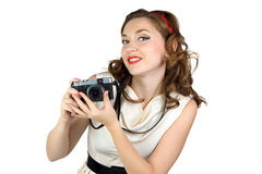 Portrait of the woman with retro camera Stock Photos
