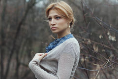 Portrait of woman in retro style outdoor Royalty Free Stock Image