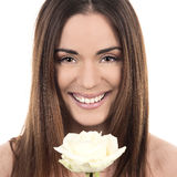 Portrait of woman with rose Royalty Free Stock Images