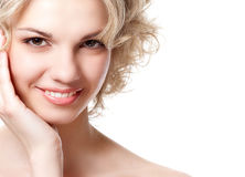 Portrait of a woman`s face Stock Images