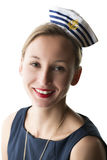 Portrait woman in sailor costume Royalty Free Stock Photos
