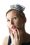 Portrait woman in sailor costume Royalty Free Stock Photo