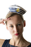 Portrait woman in sailor costume Stock Images