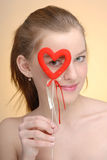 Portrait of woman with Saint Valentine's heart Stock Photos
