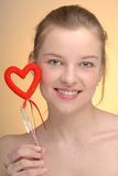 Portrait of woman with Saint Valentine's heart Royalty Free Stock Images