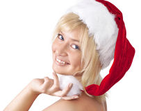 Portrait of woman in Santa Claus hat Stock Photography
