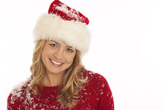 Portrait of woman in Santa hat Stock Photo
