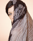 Portrait of a woman with a scarf. Portrait of beautiful woman with a scarf Royalty Free Stock Photo