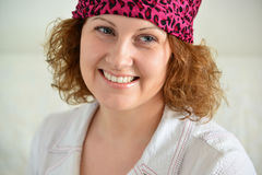 Portrait of woman with  scarf on her head like a gypsy Royalty Free Stock Photography