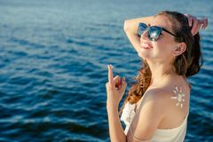 Portrait woman on  sea background. Royalty Free Stock Images
