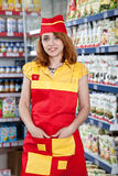 Portrait Woman Seller In Food Supermarket Royalty Free Stock Photography