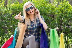 Portrait of a woman with shopping bags Royalty Free Stock Image