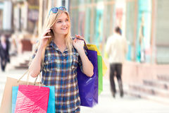 Portrait of a woman with shopping bags Royalty Free Stock Images