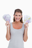 Portrait of a woman showing bank notes Royalty Free Stock Images