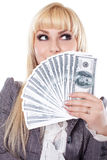 Portrait of a woman showing cash Royalty Free Stock Photos