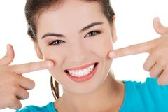 Portrait of woman showing her teeth Royalty Free Stock Photography