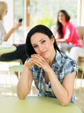 Portrait Of Woman Sitting In Cafe Stock Image
