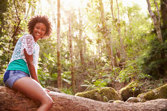 Portrait Of Woman Sitting On Tree Trunk In Forest Stock Images