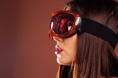 Portrait of woman with ski goggles Royalty Free Stock Photography