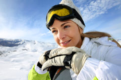 Portrait of woman in ski outfit stock photos