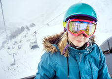 Portrait of woman at ski resort Stock Photos