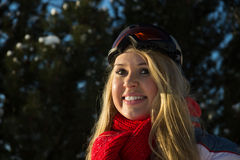 Portrait of a woman with skiing glasses Royalty Free Stock Photography