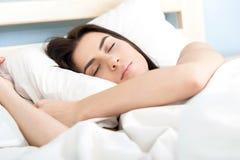Portrait of woman sleeping Stock Image