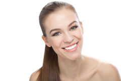 Portrait woman smiling, isolated on white background Stock Photo