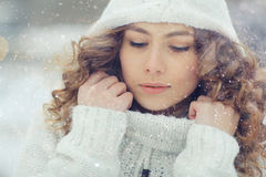 Portrait of woman in snow. Winter portrait of woman in snow Stock Photography