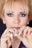 Portrait of a woman with soap bubbles Stock Image