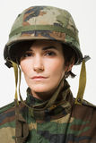 Portrait of a woman soldier Royalty Free Stock Photography